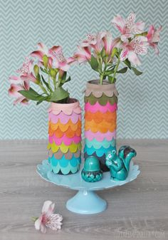 luzia pimpinella | DIY tutorial | handmade leather scallop vases