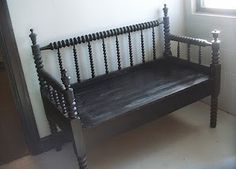 Junking 101:  The headboard bench!  Made by cutting the footboard in half (or less) and using as sides by attaching to the  headboard forming three sides.  A front board completes the frame and the seat can either be slats or one bigger board supported underneath.