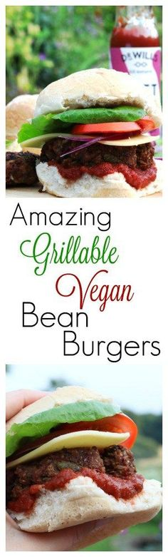 These easy to make vegan bean burgers are not only tasty to eat but stand up well on a BBQ or grill. Make a batch of them and keep them in the freezer ready to get out when you're ready to BBQ! Vegan Bbq Recipes, Delicious Vegan Recipes, Veggie Recipes, Lunch Recipes, Healthy Recipes, Tasty, Delicious Dishes, Recipes Dinner, Healthy Food