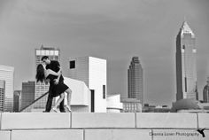 Romantic posing ideas with the skyline   Downtown Cleveland Engagement Photos   Nirali & Ankit Engagement Pictures   Deanna Loren Photography
