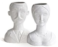 Male & Female Bust Vases - Floral Art
