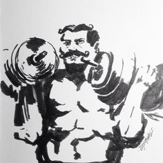 Recently became interested in drawing 1800 era strongmen. #strong #circus #art