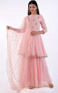 This Baby Pink Georgette Sharara Suit accompanied by a matching Georgette Sharara Pant with Baby Pink Net Dupatta. Sharara pant has Gota patti work. Dupatta embroidered with Sequins Work. Indian Fashion Dresses, Dress Indian Style, Indian Designer Outfits, Pakistani Dresses, Indian Outfits, Designer Dresses, Sharara Designs, Kurti Designs Party Wear, Designer Kurtis