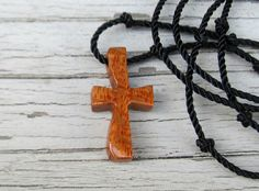 Wooden Cross Necklace  South American Leopardwood by TheLotusShop, $16.95