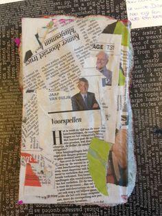 dit is de achterkant van het boek, ik heb dit met papier maché beplakt. eigenlijk was het de bedoeling dat het boek zo bleef maar ik vond het toch mooier om de voorkant meer te versieren dus heb ik een lijst van peur opgemaakt en deze met verf roze gemaakt.