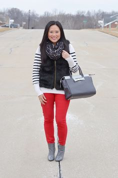 how to wear red, red bottoms, stripe sweater, black fur vest, grey booties