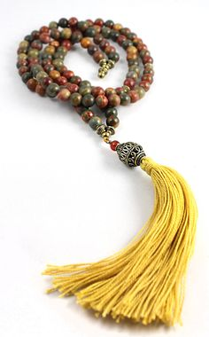Mala Bead Necklace Jasper Mala Beads by goodmedicinegemstone