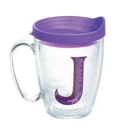 """Initials Sequins """"J"""" 15 Oz. Mug with Lid"""