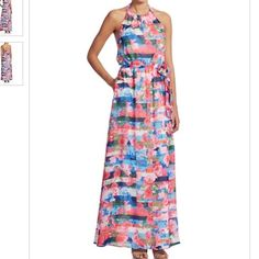 """Floral & Stripe Patterned Maxi Dress New with tags! Patterned maxi dress by Jessica Simpson. Size 6. Approximately 40"""" long. Halter neckline and elastic waist (with sash). Polyester/spandex blend. Jessica Simpson Dresses Maxi"""