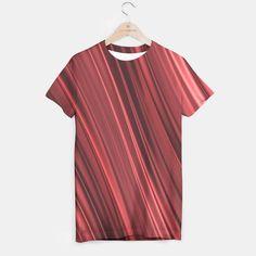 Strawberry red shaded black stripes t-shirt