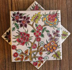 Floral Hand Painted Tile Coaster School Art Projects, Art School, Tile Coasters, Lessons For Kids, Pottery Ideas, Art For Kids, Tiles, Hand Painted, Modern
