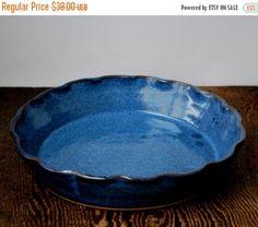 Cobalt Blue Ruffled Rim Deep Dish Pie Plate Stoneware Pottery Ready to ship & ON SALE Wavy Blue Ruffled Rim Deep Dish Pie Plate Stoneware Pottery ...