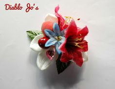 Cherry and Peach hair flower, Pin Up, Rockabilly, Vintage style by DiabloJos on Etsy