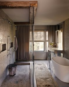 rustic modern bathroom freestanding tub reclaimed beams tap the link now to see where the worlds leading interior designers purchase their beautifully - Modern Rustic Bathroom