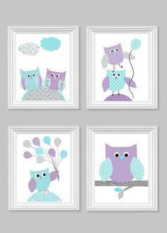 Owl Nursery Art Gray Aqua Purple Baby Girl by SweetPeaNurseryArt