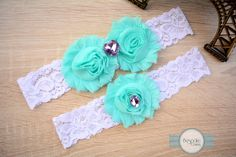 Baby Blue Wedding Garter with White Lace & Violet Rhinestones by BespokeGarters by BespokeGarters on Etsy