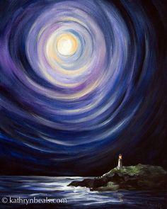 Mond und ein Leuchtturm Landschaft Malerei von kathrynbeals
