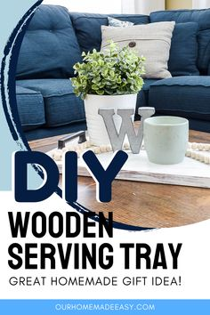 This wooden serving tray is easy to make, and looks so great on a coffee table, nightstand or dining table. It adds an extra layer of cozy charm to your decor. Or, whip one up and give it as a unique homemade gift. Diy Table, Dining Table, Diy Home Accessories, Wooden Serving Trays, Quick Crafts, Diy Home Repair, Do It Yourself Home, Wooden Diy, Easy Diy Projects