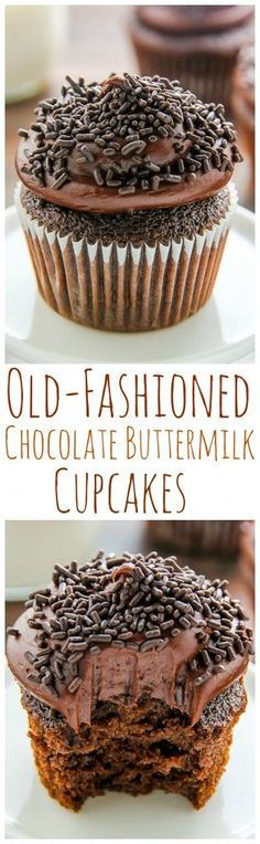 Old-fashioned chocolate buttermilk cupcakes topped with a generous swirl of homemade chocolate frosting.