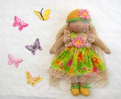 Waldorf cloth doll doll Margarita Flowers and Butterflies  We will soon be summer! by LaFiabaRussa, €90.00