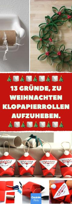 Basteln with toilet paper rolls for Christmas- Basteln mit Klopapierrollen zu Weihnachten Advent and Christmas are always so fast … - Christmas Crafts, Christmas Decorations, Holiday Decor, Christmas Christmas, Christmas Baking, Advent Season, Navidad Diy, Toilet Paper Roll, Love Craft