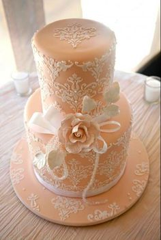 Lace Cake what i wanted for my wedding but l had so many  stunning cakes  none the less