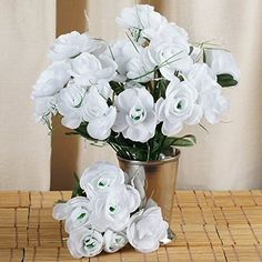 BalsaCircle 84 pcs Silk CAMELLIA Flowers for Wedding Arrangements  12 bushes  White *** This is an Amazon Affiliate link. Check out the image by visiting the link.