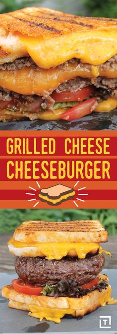 Grilled Cheese Cheeseburger Go big or go home with monstrous grilled cheese cheeseburger. A juicy cheese-stuffed burger is topped with lettuce, tomatoes, and all the fixings, and is then sandwiched between two melty grilled cheese sandwiches that Gourmet Burgers, Burger Recipes, Grilling Recipes, Cooking Recipes, Healthy Recipes, Diner Recipes, Delicious Sandwiches, Wrap Sandwiches, Steak Sandwiches