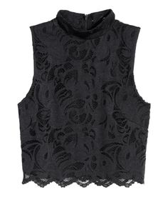 Sleeveless, short top in stretch lace with a mock-turtleneck collar and concealed back zip.| Party in H&M