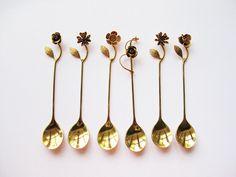 Vintage Japanese Floral Teaspoons- Splendour Collection 1980s.