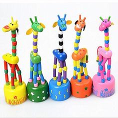 Children SafetyWooden Giraffe Push PuppetsSwing Body Giraffe Desktop Toys Cartoon Fingers Toys Home Kids Room TV Cabinet Decoration 5Pack ** Click on the image for additional details.