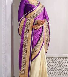 Buy baige embroidered jacquard saree with blouse half-saree online