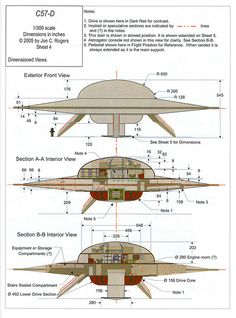 "cutaway and dimensions of the United Planets Cruiser from the movie ""Forbidden Planet"" Ancient Aliens, Aliens And Ufos, Arte Sci Fi, Sci Fi Art, Cutaway, Sci Fi Ships, Classic Sci Fi, Flying Saucer, Science Fiction Art"