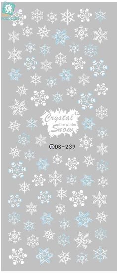 Rocooart DS239 Designer Winter Water Transfer Nails Art Sticker White Snowflake harajuku Nail Wraps Sticker manicure stickers #WinterNails