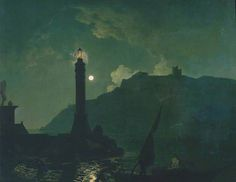 Joseph Wright of Derby - A Moonlight with a Lighthouse, Coast of Tuscany