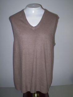 Vintage 80s Sweater Vest V Neck Soft Thin Brown Acrylic Penneys Towncraft Large