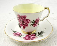 Royal Adderley Tea Cup and Saucer with Pink Flowers and Yellow Center, Vintage Bone China, Made in England