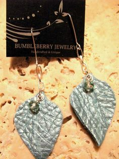 Turquoise Aqua Leather Leaf Earrings with by BumbleberryJewelry, $16.00