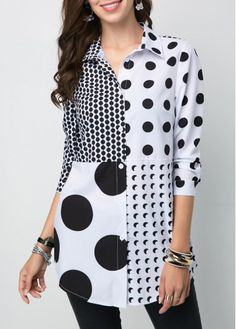Cute Black And White Polka Dot Shirt Button Front Turndown Collar Polka Dot Shirt Polka Dot Shirt, Polka Dots, Blouse Styles, Blouse Designs, Modest Fashion, Fashion Dresses, Vintage Clothing, Trendy Tops For Women, Woman Shirt
