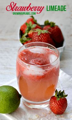 we went strawberry picking last weekend- I'm thinking this strawberry limeade will be the perfect thing to make with our haul.  fresh strawberries and lime essential oil, DELICIOUS!