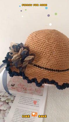 Easy Crochet Projects, Crochet Patterns For Beginners, Easy Patterns, Knitting Projects, Crochet Summer Hats, Crochet Hats, Sombrero A Crochet, Crochet Videos, Crochet Quilt