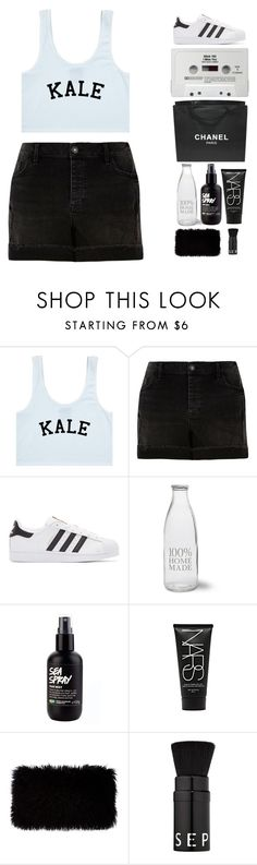"""""""Kale"""" by ashola18 ❤ liked on Polyvore featuring River Island, adidas Originals, Garden Trading, Chanel, NARS Cosmetics, Donna Karan, Sephora Collection, TrickyTrend, adidas and blackandwhite"""