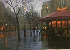Hi Resolution Image for Alexei Butirskiy Limited Edition Giclee on Canvas Rainy Day in Paris Art Night Aesthetic, City Aesthetic, Aesthetic Images, Rainy Paris, Rainy City, Cozy Rainy Day, Rainy Night, Rainy Day Images, Umbrella Photography