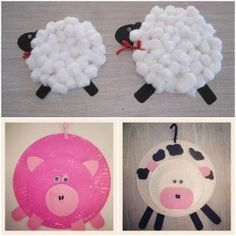 Farm animals from paper plates