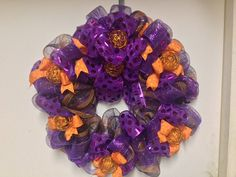 Your place to buy and sell all things handmade Halloween Wreaths, Halloween Crafts, Purple Ribbon, Orange And Purple, Pumpkins, Floral Design, Wedding Planning, Projects To Try, Free Shipping