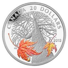 Royal Canadian Mint $20 2013 Fine Silver Coin - Canadian Maple Canopy (Autumn) Mintage 7500