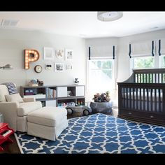 roman shades- A charming baby boy nursery designed by Cory Conner Nurserirs