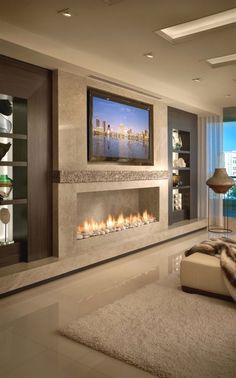 New living room tv wall modern design fireplaces Ideas Bedroom Fireplace, Home Fireplace, Living Room With Fireplace, New Living Room, Fireplace Design, Small Living Rooms, Living Room Designs, Bedroom Tv, 3 Sided Fireplace