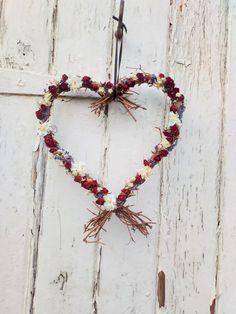 Dried Flower Heart Wreath, Valentine wreath, vine wreath, wedding decoration, rustic wedding, dried flowers, home decor by BellaPoppyFlowers on Etsy