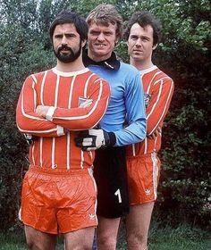 Gerd Müller mit Sepp Maier und Franz Beckenbauer